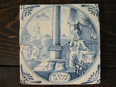 Antique Delft tile parable Rich Fool blue and white eighteenth century