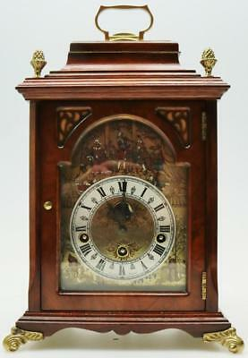 Vintage Christian Huygens Walnut Westminster Musical Penny Moon Bracket Clock