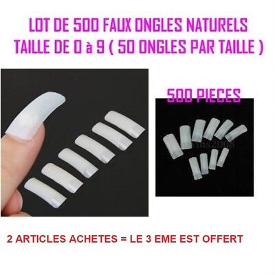 500 Capsules Tips Naturel Faux Ongle Gel Uv Vernis Ong015  Pochette Cadeau