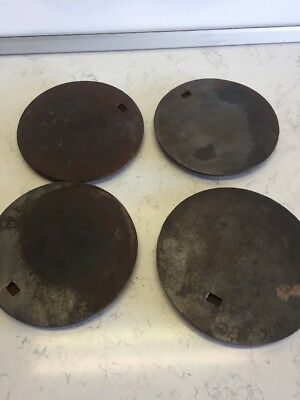 "Antique Vintage Cast Iron Wood Stove Top Burner Cover Plates 7 3/8"" And 8"" Set"