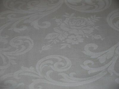 """Vintage Irish Linen Damask 102"""" Tablecloth Roses Large Banquet EXC Never Used"""