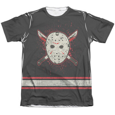 Friday the 13th Jason VOORHEES HOCKEY JERSEY 1-Sided Print Poly Cotton T-Shirt