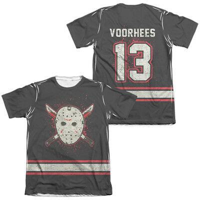 Friday the 13th Jason VOORHEES HOCKEY JERSEY 2-Sided Print Poly Cotton T-Shirt