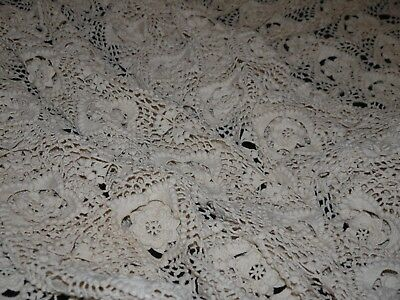 """Vintage Hand Made Crocheted Bedspread Bed Cover Cream Ecru w Tassels Floral 105"""""""