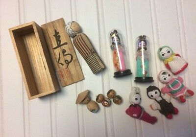 Lot of JAPANESE ASIAN 1950s 1960s Small VINTAGE WOOD DOLLS and Trinkets