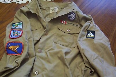 Vintage Boy Scout Canada Shirt with Patches Official Uniform S.C.Walker Garment
