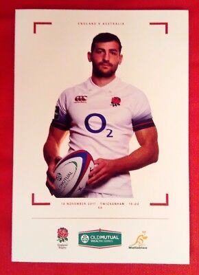 ENGLAND v AUSTRALIA 18/11/2017 Rugby Union programme Old Mutual Wealth Series