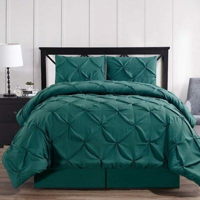 3-4 Pc Teal Oxford Luxuriously Soft Pinch Pleated Microfiber Comforter Set