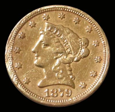 Genuine 1879 S Usa $2 1/2 Liberty Gold Out Of Jewelry