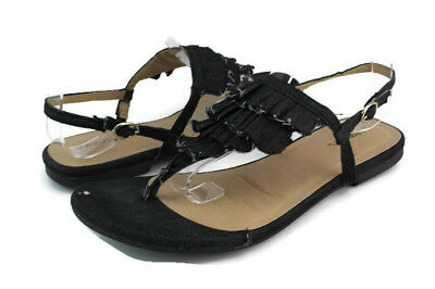 bb627bc43cdfee Xhilaration Women s Black Denim Thong Ankle Strap Flip Flop Sandals Size 6.5