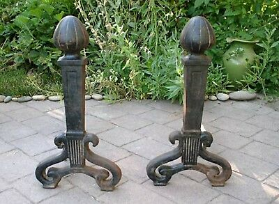 Antique Cast Iron Arts and Crafts Unique Andirons Firedogs Fireplace Accessories