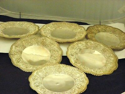 "Set of 6 Sterling Silver Footed Detailed Bread Plates 7.10""inch Diameter."