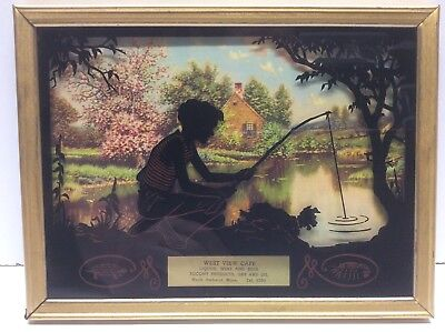 Vintage Advertising Picture And Lithograph Reverse Painting Fishing Scene N7