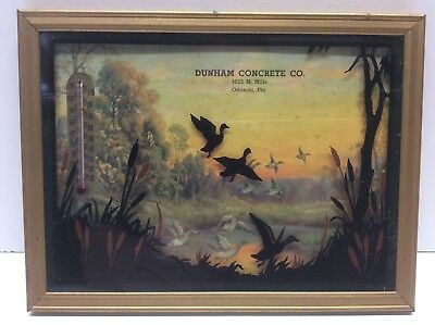 Vintage Advertising Picture And Thermometer Litho Reverse Painting Ducks N6