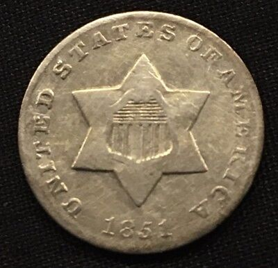 1851 3c THREE CENT SILVER PIECE COIN VF-XF Beautiful Coin.