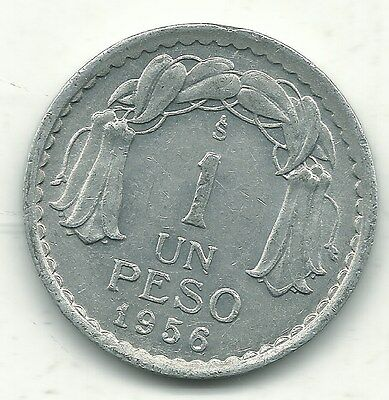 A Very Nicely Detailed High Grade Xf 1956 S Chile 1 Peso Coin-Jan059