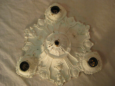 Antique Very Ornate Art Deco Cast Iron 3 Light Ceiling Light Chandelier LQQK!!