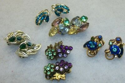 Lot of 5 Pair Vintage Clip Earrings with Gorgeous Stones Lisner+