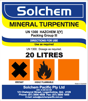Mineral Turpentine Turps Paint Cleaner Solvent Degreaser Paint Thinner 5 Litres