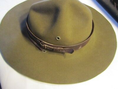ANTIQUE 1940's BOYSCOUTS OF AMERICA CAMPAIGN HAT WITH LEATHER CHIN STRAP & BOX