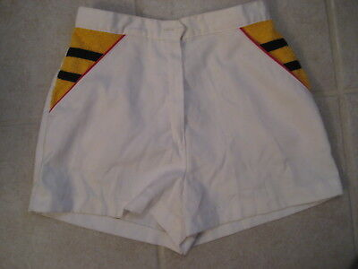 Vintage Ladies White Tennis Shorts YELLOW TERRY Sears Jr Bazaar JUNIOR SIZE 7