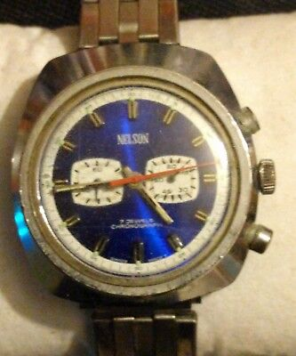 Vintage Nelson Chronograph Watch Swiss movementfor parts or Repair