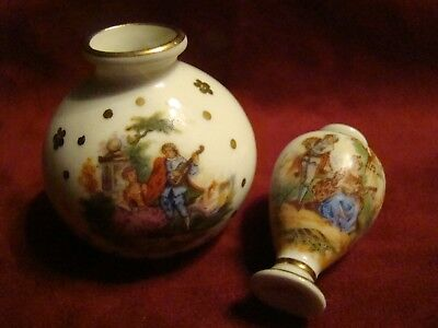 Pair of Vintage Limoges Mini Vases ~ Style of Fragonard Courting Couples