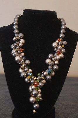 Vintage Taupe & Champagne Necklace W/ Faux Pearl Clusters And Ab Crystal Beads
