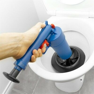 Blue High Pressure Air Toilet Drain Blaster Pump Plunger Sink Pipe Clog Remover