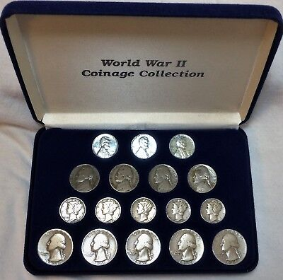 World War 2 Coinage Collection 1941 - 1945, Pennys, Nickels, Dimes, Quarters