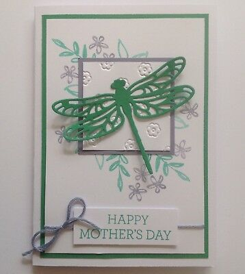 Handmade Mother's Day card: Garden Dragonfly green/ mauve.
