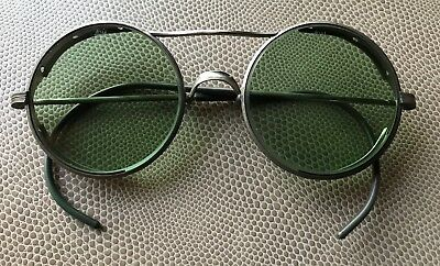 Vintage American Optical Green Shaded Safety Glasses Round With Wire Frame