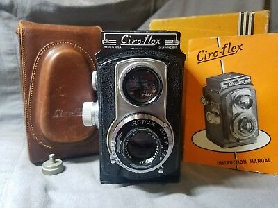 Ciro Ciro-Flex Tlr Camera Wollensak 85Mm 3.5 Lens-Leather Case Box And Manual