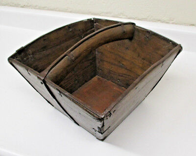 VINTAGE Asian Wooden Rice Basket With Fingerjoint Seams And Hammered Metal Trim