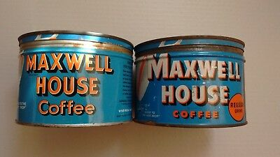Vintage Lot of 2 Used Maxwell House 1 LB. Coffee Tins As-Is