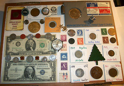 Junk Drawer Lot- Old Coins Found - Silver Certificate, 2 Dollar Star Note Indian