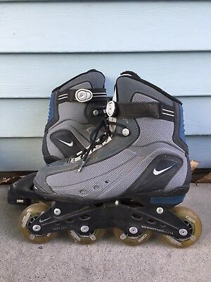 NIKE Men's 8 N-Dorfin 4 Inline Skates Roller Blades Air Max Hockey Gray Blue