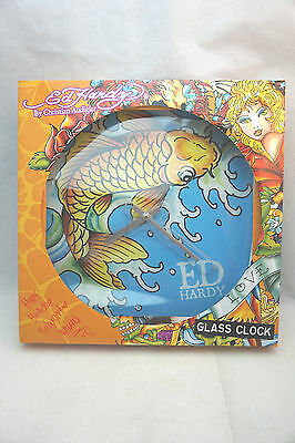 Ed Hardy By Christian Audigier ~Round Glass Wall Clock ~ Fish~ Beautiful !