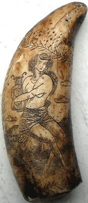 SCRIMSHAW - IMPRESSIVE LYRA PLAYER - AMERICAN SHIP with FLAG & NAME!!