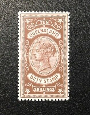 1892 Qld Australia 10/- Brown Revenue Duty Forgery Mng
