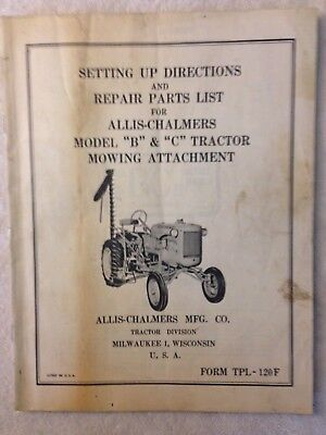 Vintage Allis Chalmers Model B & C tractor mowing parts instructions manual
