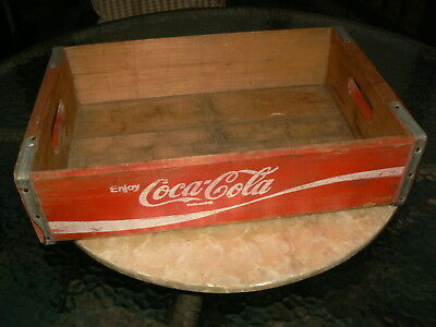 Vintage Wooden Coca Cola Crate Old Red Wood Coke Carrier Tote Box