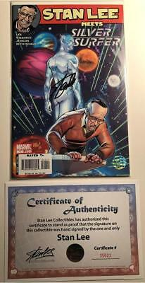 """Stan Lee Meets Silver Surfer #1 Signed By Stan """"the Man"""" Lee W/coa Nm Marvel"""