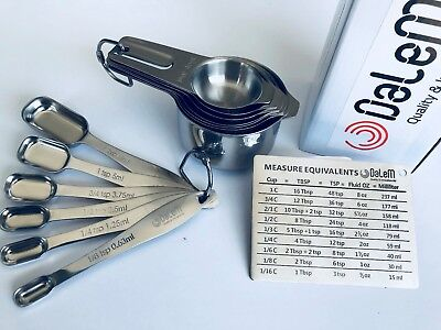 Measuring Cups, Measuring Spoons Set 14 Pc Proffesional Stainless Steel by Dalem
