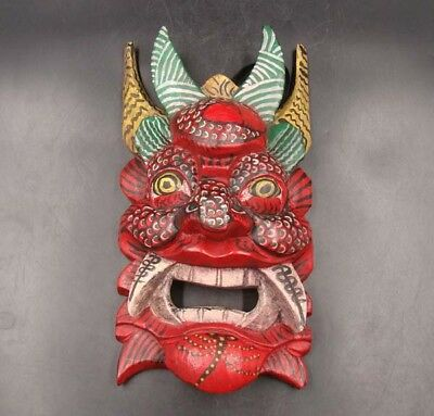 250mm Handmade Carving Painting colored drawing wood Mask God Deco Art