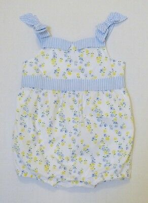 Janie and Jack Girl's Blue Yellow Floral Bubble Romper Size 12-18 Months