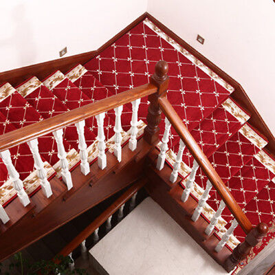 D5 5PCS Red Skid Resistance Stair Tread Mat Household Step Rug Carpet 26X75CM Z