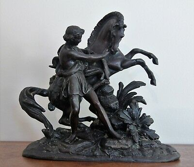 French Antique Bronzed Spelter Classical Sculpture of a Horse & Rider