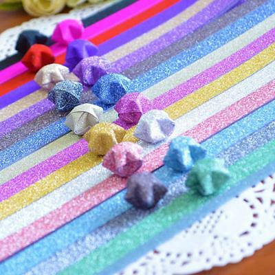 DIY Folding Origami Paper Glitter Bling Shiny Lucky Wish Star Stripes Party YAAU