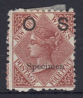 """New South Wales  very scarce 4d Brown  """"OS Specimen"""" overprint"""